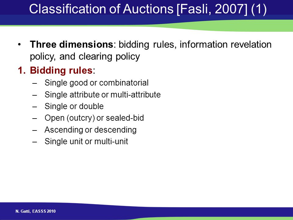 Classification of Auctions [Fasli, 2007] (1)